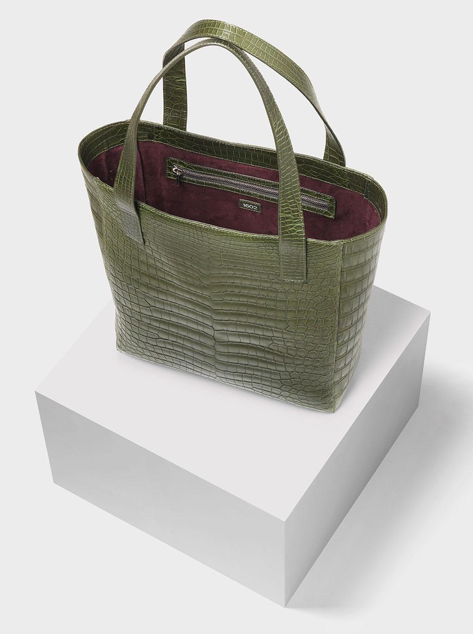 The Ned crocodile bag olive green